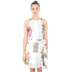 Rose Flowers Campanula Bellflower Halter Collar Waist Tie Chiffon Dress by Celenk