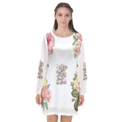 Rose Flowers Campanula Bellflower Long Sleeve Chiffon Shift Dress  by Celenk