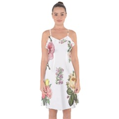 Rose Flowers Campanula Bellflower Ruffle Detail Chiffon Dress by Celenk