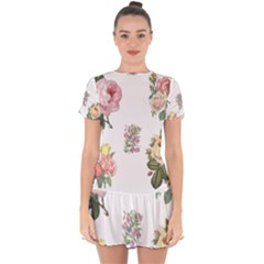 Rose Flowers Campanula Bellflower Drop Hem Mini Chiffon Dress by Celenk
