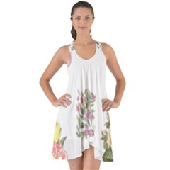 Rose Flowers Campanula Bellflower Show Some Back Chiffon Dress by Celenk