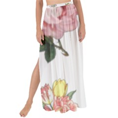 Rose Flowers Campanula Bellflower Maxi Chiffon Tie-up Sarong by Celenk