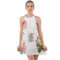Rose Flowers Campanula Bellflower Halter Tie Back Chiffon Dress by Celenk