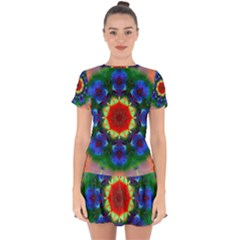 Fractal Digital Mandala Floral Drop Hem Mini Chiffon Dress by Celenk