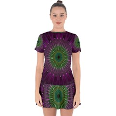 Purple Mandala Fractal Glass Drop Hem Mini Chiffon Dress by Celenk