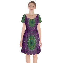 Purple Mandala Fractal Glass Short Sleeve Bardot Dress by Celenk