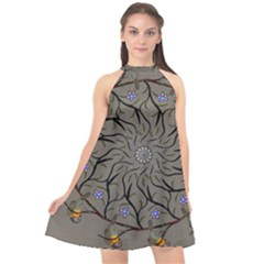 Bird Mandala Spirit Meditation Halter Neckline Chiffon Dress  by Celenk