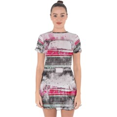 Car Old Car Art Abstract Drop Hem Mini Chiffon Dress by Celenk