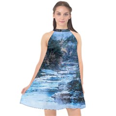 River Water Art Abstract Stones Halter Neckline Chiffon Dress  by Celenk