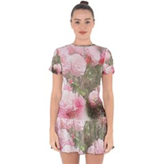 Flowers Roses Art Abstract Nature Drop Hem Mini Chiffon Dress by Celenk