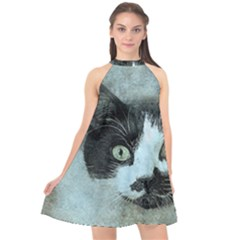 Cat Pet Art Abstract Vintage Halter Neckline Chiffon Dress  by Celenk
