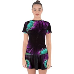 Fractals Spirals Black Colorful Drop Hem Mini Chiffon Dress by Celenk