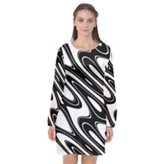 Black And White Wave Abstract Long Sleeve Chiffon Shift Dress  by Celenk