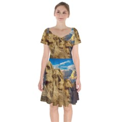 Monument President Landmark Short Sleeve Bardot Dress by Celenk