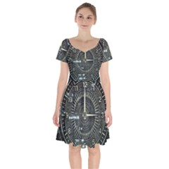Time Machine Science Fiction Future Short Sleeve Bardot Dress by Celenk