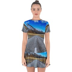 Road Mountain Landscape Travel Drop Hem Mini Chiffon Dress by Celenk
