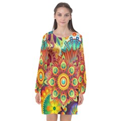 Colorful Abstract Background Colorful Long Sleeve Chiffon Shift Dress  by Nexatart