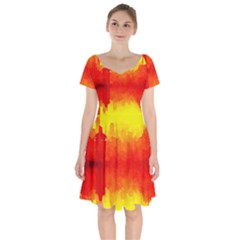 Sun Rise,city,modern Art Short Sleeve Bardot Dress by 8fugoso