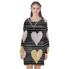 Modern Heart Pattern Long Sleeve Chiffon Shift Dress  by 8fugoso