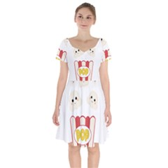 Cute Kawaii Popcorn Short Sleeve Bardot Dress by Valentinaart