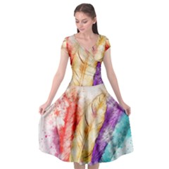 Feathers Bird Animal Art Abstract Cap Sleeve Wrap Front Dress by Nexatart