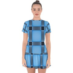 Wall Blue Steel Light Creative Drop Hem Mini Chiffon Dress by Nexatart