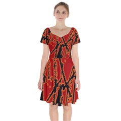 Vivid Abstract Grunge Texture Short Sleeve Bardot Dress by dflcprints