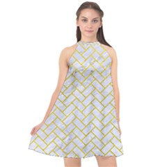 Brick2 White Marble & Yellow Leather (r) Halter Neckline Chiffon Dress  by trendistuff