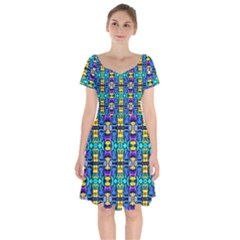 Colorful-14 Short Sleeve Bardot Dress by ArtworkByPatrick