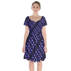 Dark Galaxy Stripes Pattern Short Sleeve Bardot Dress by dflcprints