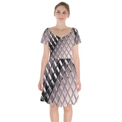 3d Abstract Pattern Short Sleeve Bardot Dress by Sapixe