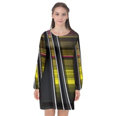 Abstract Multicolor Vectors Flow Lines Graphics Long Sleeve Chiffon Shift Dress  by Sapixe