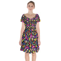 Artwork By Patrick-colorful-24 Short Sleeve Bardot Dress by ArtworkByPatrick