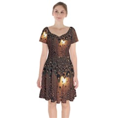 Condensation Abstract Short Sleeve Bardot Dress by Sapixe