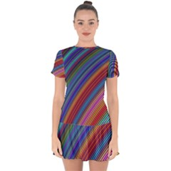 Multicolored Stripe Curve Striped Drop Hem Mini Chiffon Dress by Sapixe