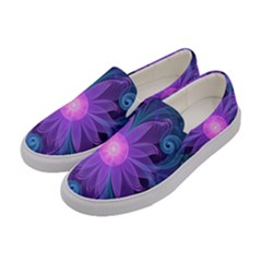 Blown Glass Flower Of An Electricblue Fractal Iris Women s Canvas Slip Ons by jayaprime