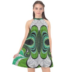 Fractal Art Green Pattern Design Halter Neckline Chiffon Dress  by Sapixe