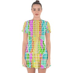 Abstract Squares Background Network Drop Hem Mini Chiffon Dress by Sapixe