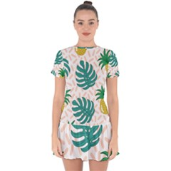 Green Leaf Fruite Pineapples Drop Hem Mini Chiffon Dress by AnjaniArt