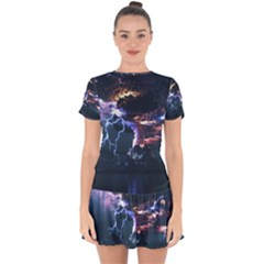 Lightning Volcano Manipulation Volcanic Eruption Drop Hem Mini Chiffon Dress by AnjaniArt