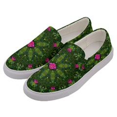 The Most Sacred Lotus Pond  With Bloom    Mandala Men s Canvas Slip Ons by pepitasart