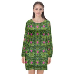 The Most Sacred Lotus Pond With Fantasy Bloom Long Sleeve Chiffon Shift Dress  by pepitasart