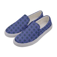 Floral Circles Blue Women s Canvas Slip Ons by BrightVibesDesign