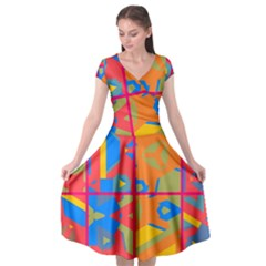 Colorful Shapes In Tiles                                     Cap Sleeve Wrap Front Dress by LalyLauraFLM