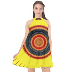 Art Decoration Wallpaper Bright Halter Neckline Chiffon Dress  by Nexatart