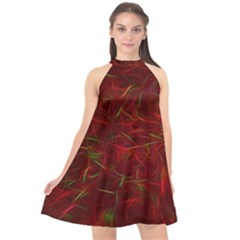 Abstract Pattern Color Shape Halter Neckline Chiffon Dress  by Nexatart