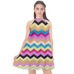 Chevrons Pattern Art Background Halter Neckline Chiffon Dress  by Jojostore