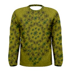Flower Wreath In The Green Soft Yellow Nature Men s Long Sleeve Tee by pepitasart