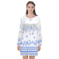 Blue And White Floral Background Long Sleeve Chiffon Shift Dress  by Jojostore