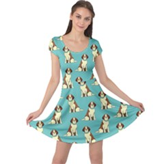 Dog Animal Pattern Cap Sleeve Dress by Jojostore